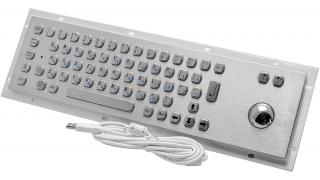 Металлическая антивандальная встраиваемая клавиатура с трекболом, old, USB, PS/2×2, Fn, Ctrl