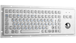 Металлическая антивандальная встраиваемая клавиатура с трекболом, PS/2, F1-F12, Alt, Win, Ctrl