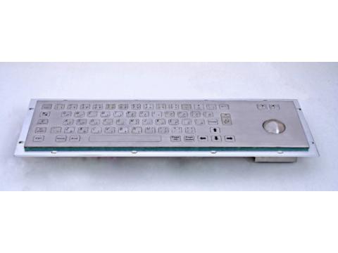 Металлическая антивандальная встраиваемая клавиатура с трекболом, USB, Alt, Win, Ctrl