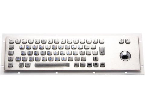 Металлическая антивандальная встраиваемая клавиатура с трекболом, USB, алфавит Брайля, Alt, Win, Ctrl