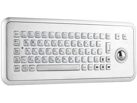 Металлическая настольная антивандальная клавиатура c трекболом, USB, Fn, Ctrl, Alt