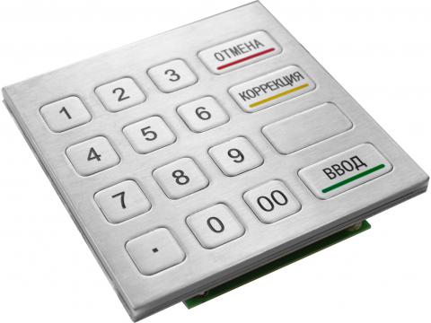 Металлическая антивандальная цифровая  клавиатура (кейпад), PS/2