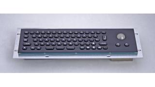Металлическая антивандальная встраиваемая клавиатура с трекболом, USB, black, Alt, Ctrl