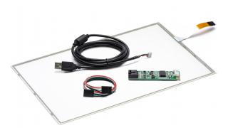 """14,1"""" Сенсорный резистивный экран W4R (4-проводной), широкоформатный, провод справа, c контроллером USB W4R"""