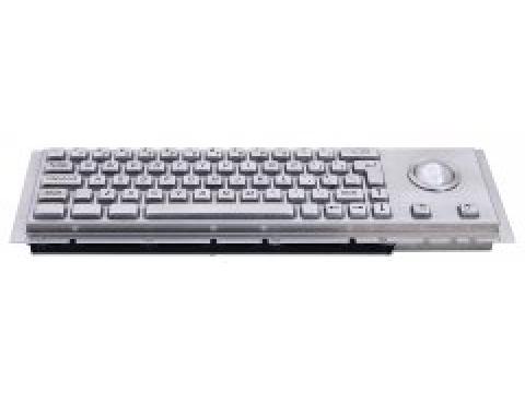 Металлическая антивандальная встраиваемая клавиатура с защищенным трекболом, USB, Ctrl, Alt